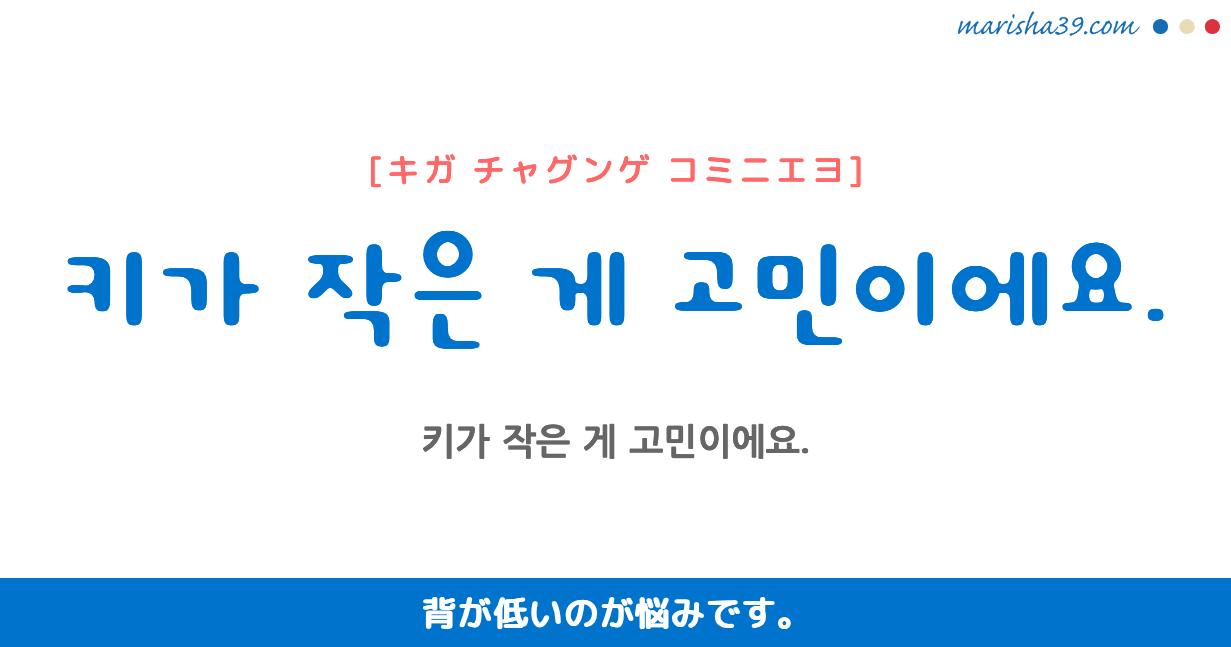 韓国語勉強☆フレーズ音声 키가 작은 게 고민이에요. 背が低いのが悩みです。