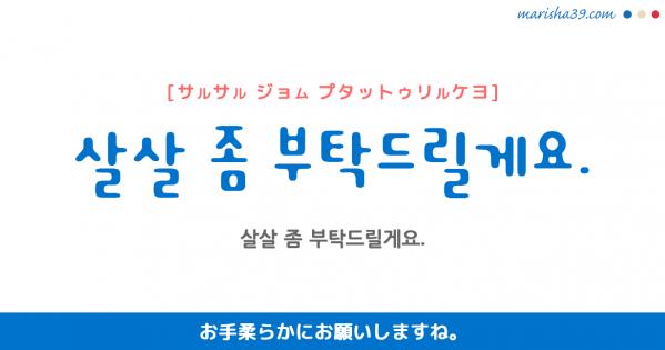 韓国語勉強☆フレーズ音声 살살 좀 부탁드릴게요. お手柔らかにお願いしますね。