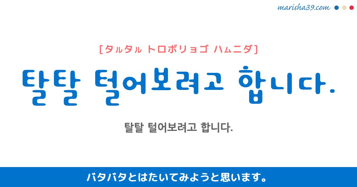 韓国語勉強☆フレーズ音声 탈탈 털어보려고 합니다. バタバタとはたいてみようと思います。