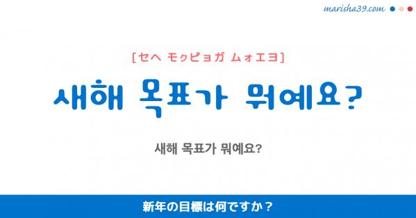 韓国語勉強☆フレーズ音声 새해 목표가 뭐예요? 新年の目標は何ですか?