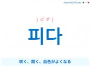 韓国語単語・ハングル 피다 [ピダ] 咲く、開く、血色がよくなる 意味・活用・読み方と音声発音
