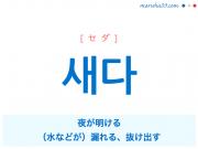 韓国語単語・ハングル 새다 [セダ] 夜が明ける、(水などが)漏れる、抜け出す 意味・活用・読み方と音声発音