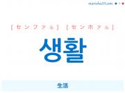 韓国語単語 생활 [センファル] [センホァル] 生活 意味・活用・読み方と音声発音