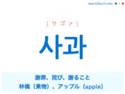 韓国語単語・ハングル 사과 [サゴァ] 謝罪、詫び、謝ること、林檎(果物)、アップル(apple) 意味・活用・読み方と音声発音