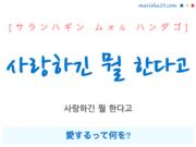韓国語で表現 사랑하긴 뭘 한다고 [サランハギン ムォル ハンダゴ] 愛するって何を? 歌詞で勉強