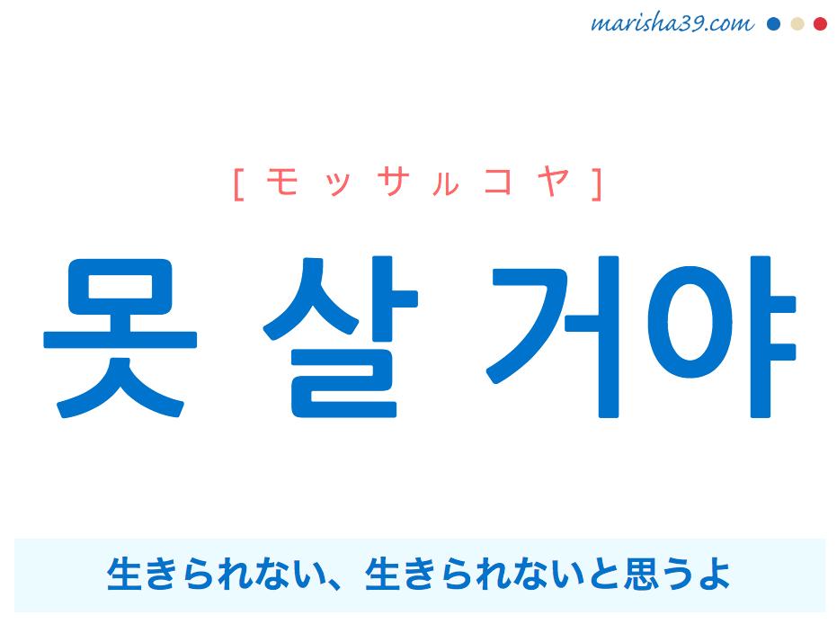 韓国語で表現 못 살 거야 [モッサルコヤ] 生きられない、生きられないと思うよ 歌詞で勉強