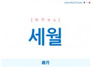 韓国語・ハングル 세월 [セウォル] 歳月 意味・活用・読み方と音声発音
