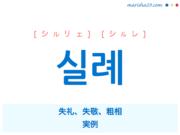 韓国語単語・ハングル 실례 [シルリェ] [シルレ] 失礼、失敬、粗相、実例 意味・活用・読み方と音声発音