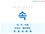 韓国語単語・ハングル 속 [ソク] [ソッ] 内、中、中身、おなか、腹の具合、束、速、俗、続、属 意味・活用・読み方と音声発音
