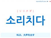 韓国語単語・ハングル 소리치다 [ソリチダ] 叫ぶ、大声を出す 意味・活用・読み方と音声発音