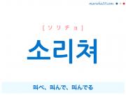 韓国語・ハングルで表現 소리쳐 叫べ、叫んで、叫んでる [ソリチョ] 歌詞を例にプチ解説