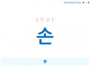 韓国語・ハングル 손 [ソン] 手 意味・活用・発音