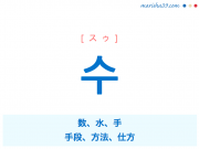 韓国語単語・ハングル 수 [スゥ] 数、水、手、手段、方法、仕方 意味・活用・読み方と音声発音