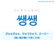 韓国語単語・ハングル 쌩쌩 [ッセンッセン] びゅんびゅん、ひゅうひゅう、ぴゅうぴゅう、ごーごー (強い風が続いて吹くさま) 意味・活用・読み方と音声発音