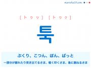 韓国語単語・ハングル 툭 [トゥッ] [トゥク] ぶくり、こつん、ぽん、ぱっと、一部分が膨れたり突き出てるさま、軽く叩くさま、急に跳ねるさま 意味・活用・読み方と音声発音