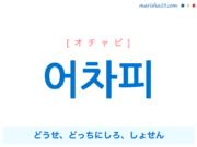 韓国語単語・ハングル 어차피 [オチャピ] どうせ、どっちにしろ、しょせん 意味・活用・読み方と音声発音