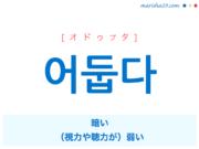 韓国語単語・ハングル 어둡다 [オドゥプタ] 暗い、(視力や聴力が)弱い 意味・活用・読み方と音声発音