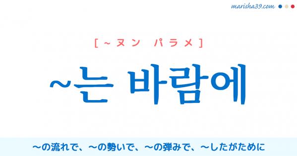 韓国語連結語尾【~는 바람에】~の流れで、~の勢いで、~の弾みで、〜したがために [~ヌン パラメ]